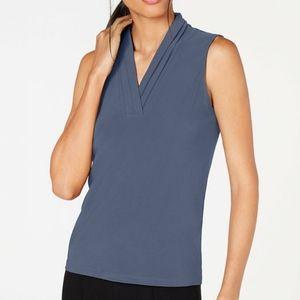 Anne Klein Pleated-Neckline Sleeveless Blouse XL